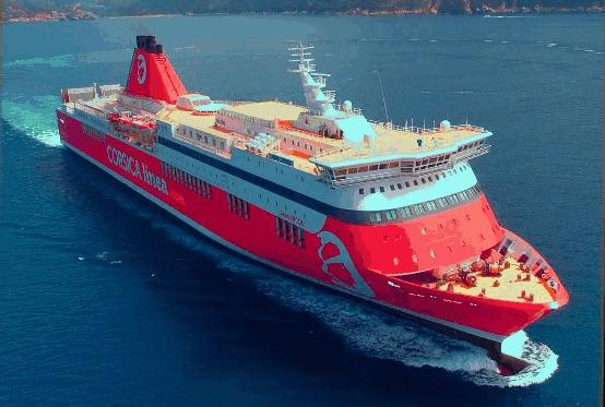 CorsicaCom-Agence média-régie publicitaire-publicité Corse- Bateau Corsica Linea_navire_Jean Nicoli publicité à bord des bateaux PUB