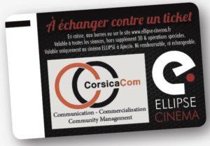 CorsicaCom-Agence média et régie publicitaire-publicité au cinéma Corse-cinéma ellipse Ticket CE