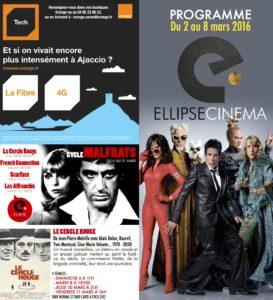 CorsicaCom-Agence média et régie publicitaire-publicité au cinéma Corse-projection-film-cinema programme hebdomadaire Visuel programme