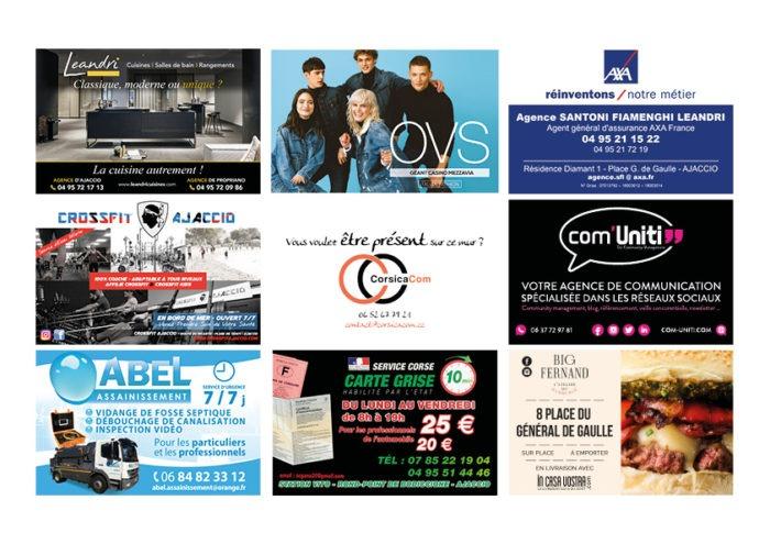 Ellipse cinéma Ajaccio CorsicaCom-Agence média et régie publicitaire-publicité au cinéma Corse Animation mur de cartes de visite diaporama 2