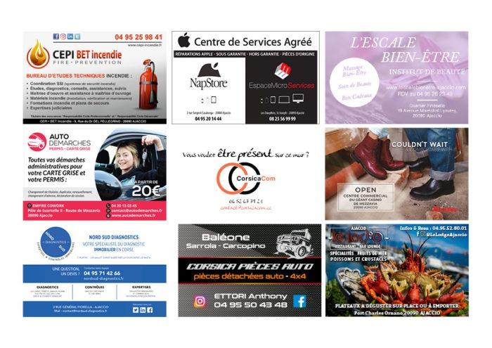 Ellipse cinéma Ajaccio CorsicaCom-Agence média et régie publicitaire-publicité au cinéma Corse Animation mur de cartes de visite diaporama1