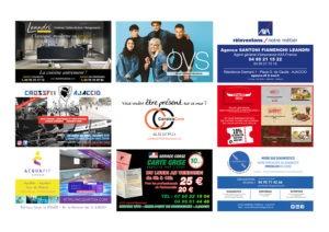 Ellipse cinéma Ajaccio CorsicaCom-Agence média et régie publicitaire-publicité au cinéma Corse Animation mur de cartes de visite 2
