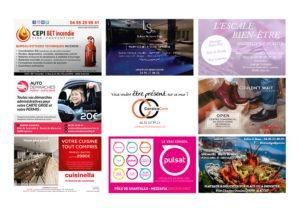 Ellipse cinéma Ajaccio CorsicaCom-Agence média et régie publicitaire-publicité au cinéma Corse Animation mur de cartes de visite 1